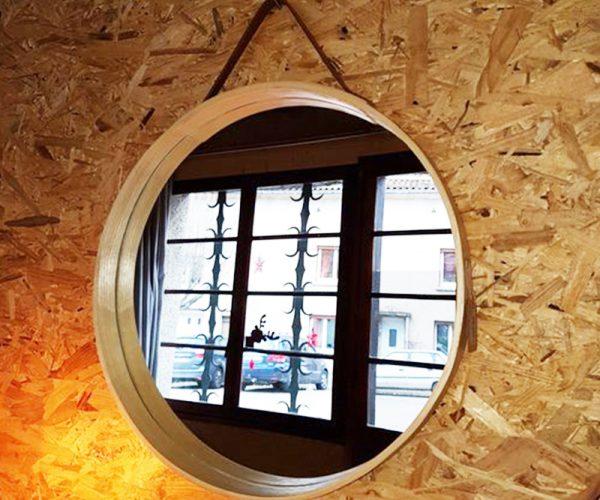 """Miroir """"Reflet"""" bois de qualité et Lanière cuir -  quality wood and leather strap"""